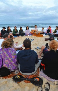 Kabbalah Music Circle on beach