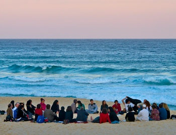 Kabbalah chanting at the beach